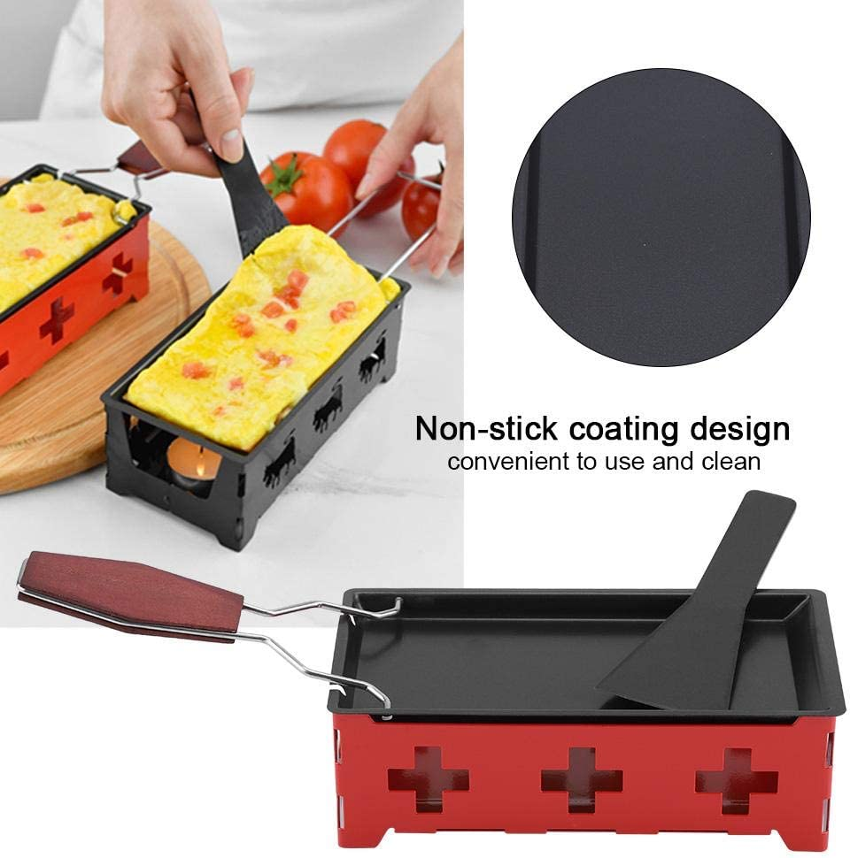 Cheese Raclette Rotaster Portable Non-Stick Baking Tray Stove Set Wooden Handle Home Kitchen Grilling Tool with Spatula
