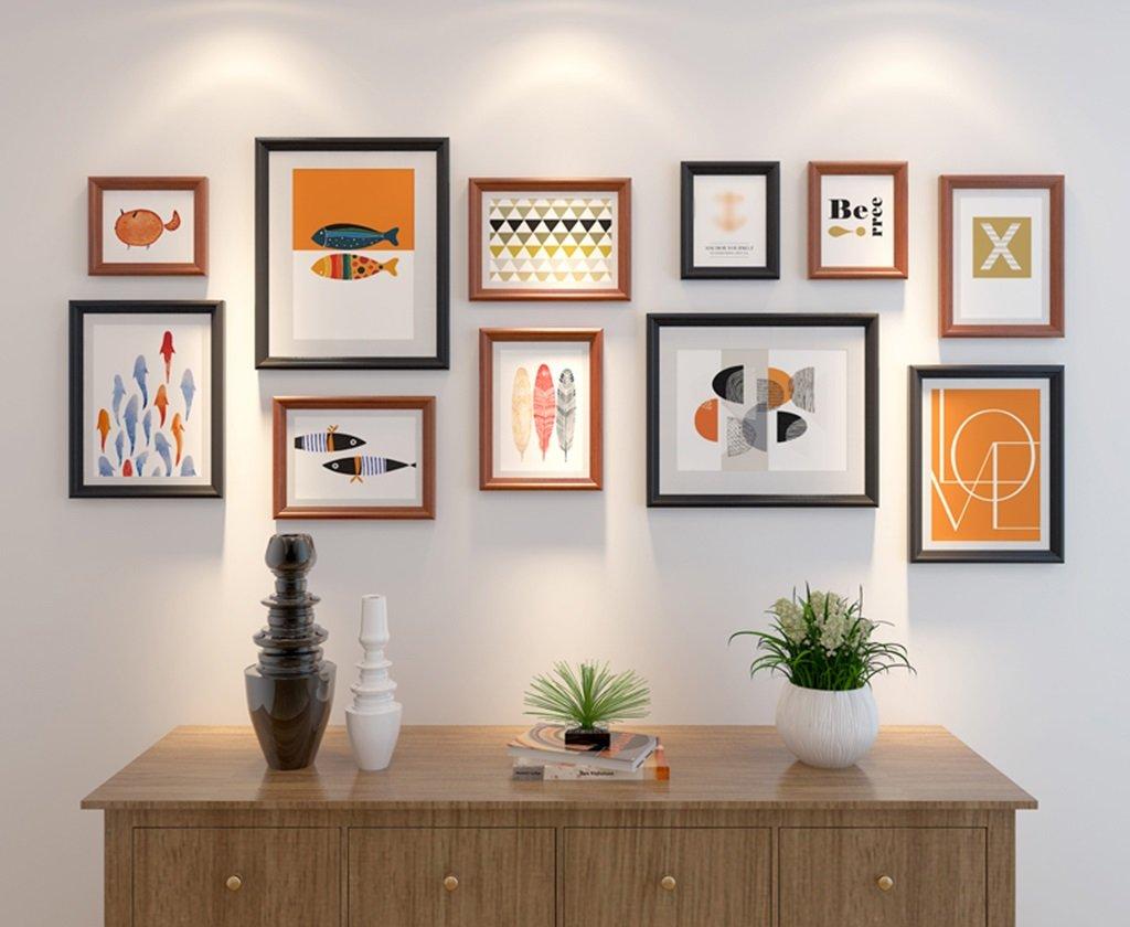 Thick Solid Wood 11 Bilderrahmen Moderne Kombination Foto Wall Decor Frame -LI JING SHOP (Farbe : Walnut and black)