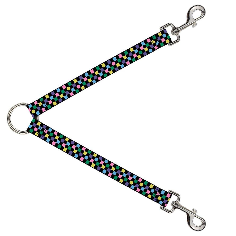 Buckle-Down DLS-W30328-W Checker Black Multi Pastel Leash Splitter, 1.5  Wide 30  Length