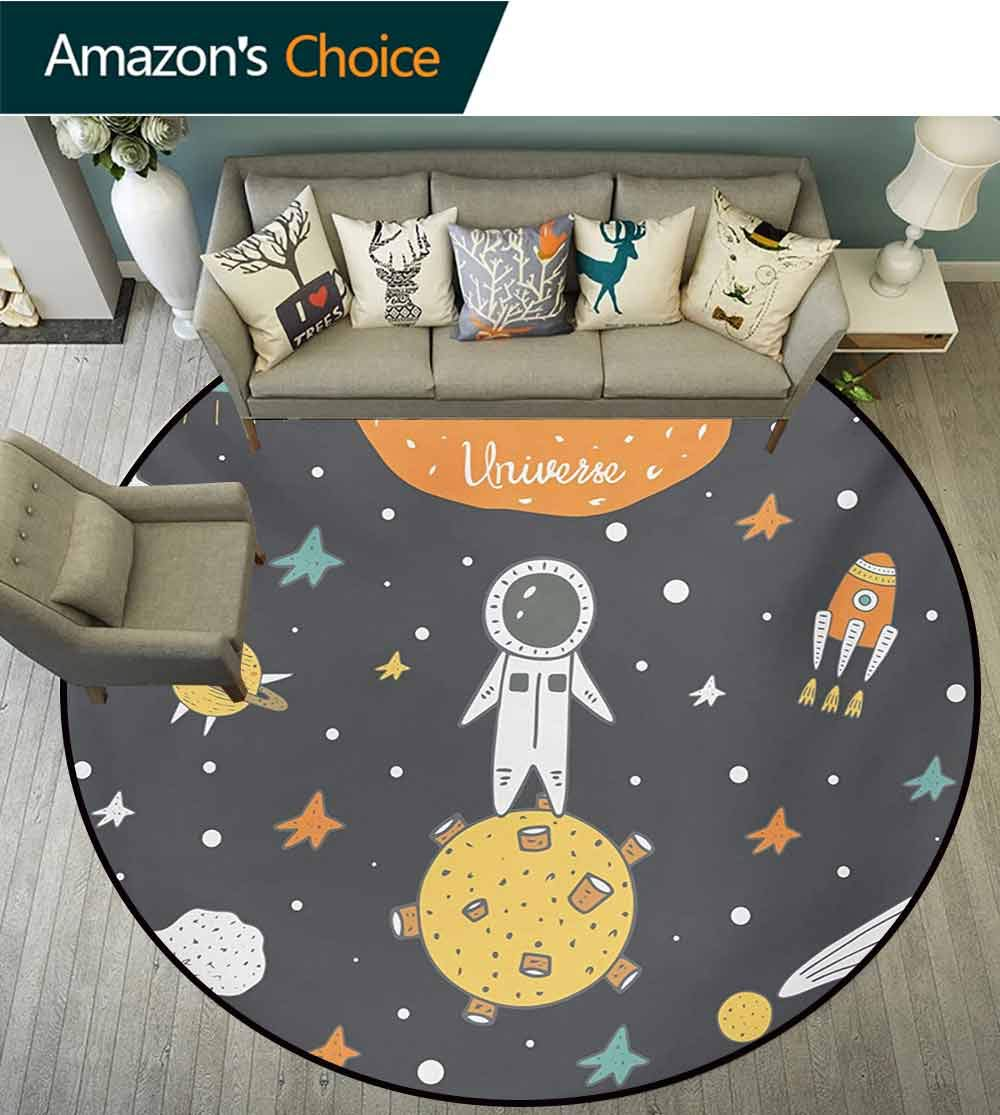 RUGSMAT Outer Space Modern Machine Washable Round Bath Mat,Doodle Style Astronaut Alien Planets and Spaceships with A Motivational Quote Non-Slip Soft Floor Mat Home Decor,Round-31 Inch by RUGSMAT (Image #2)