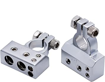 Autos Battery Terminal Clamp Post 2 4 8 Gauge AWG Connectors 1 Pair Silver +/&-