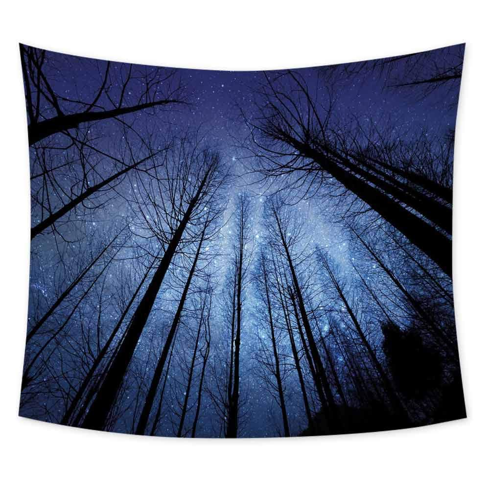 Night Sky Boho Tapestry Wall Hanging Forest Dry Tree Branches Starry Sky Stars Dawn Winter Landscape Image Colorful Tapestry Hippie Decor W55 x L55 Inch Navy Blue and Black