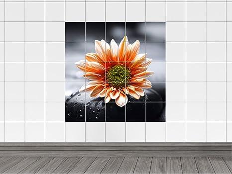 Piastrelle adesivo piastrelle immagine massaggio di pietra con fiore