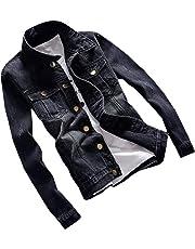 Macondoo Men's Top All-Match Lapel Collar Solid Coat Jean Slim Denim Jacket