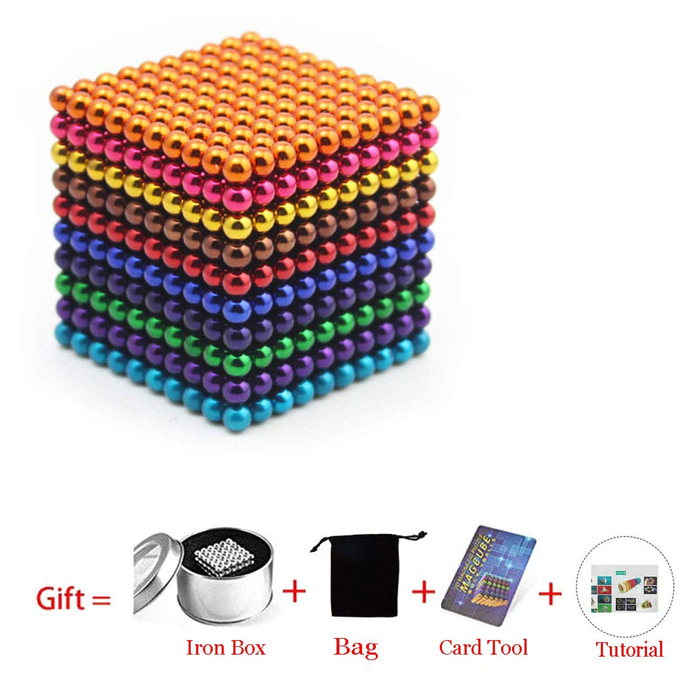 Magnetic Cube 216/512/1000pcs 5mm Magnets Blocks Magnetic Square Cube Children's Puzzle Magic Cubes DIY Educational Toys for Kids Intelligence Development and Stress Relief (1000pcs 10 color)