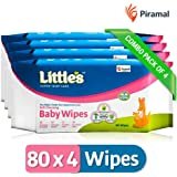 Little's Soft Cleansing Baby Wipes (Pack of 4, 80 Wipes)