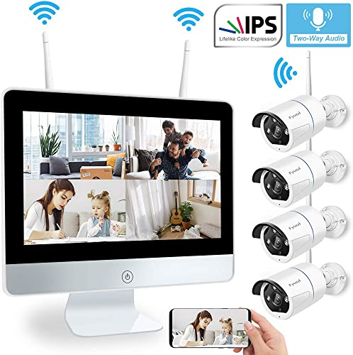 Two-Way Audio Wireless Security Camera System with 12 inch IPS Monitor, Fyuui 1080P 8CH NVR Surveillance Camera System, 4pcs 1080P 2.0MP Indoor Outdoor WiFi IP Camera, Remote View,H.265 NVR