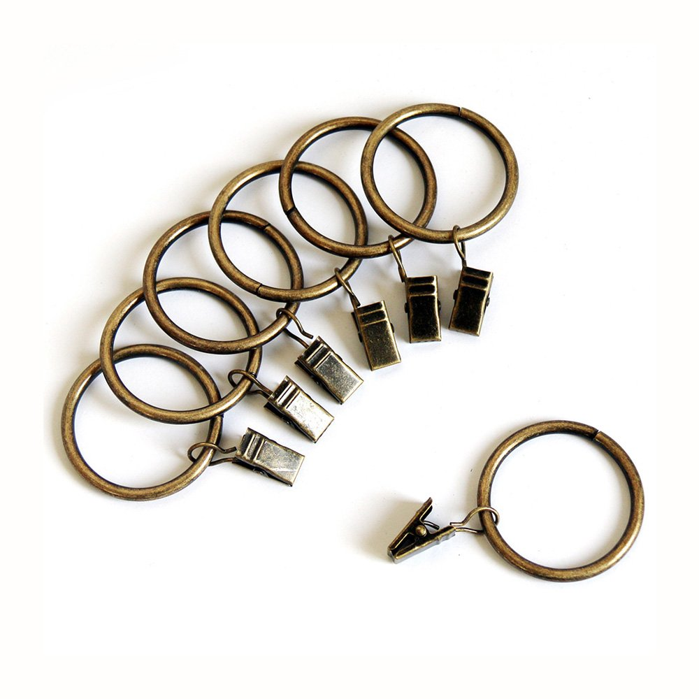 Alytimes 42-pack Bronze Metal Curtain Rings with Clips (1.5'', Bronze)