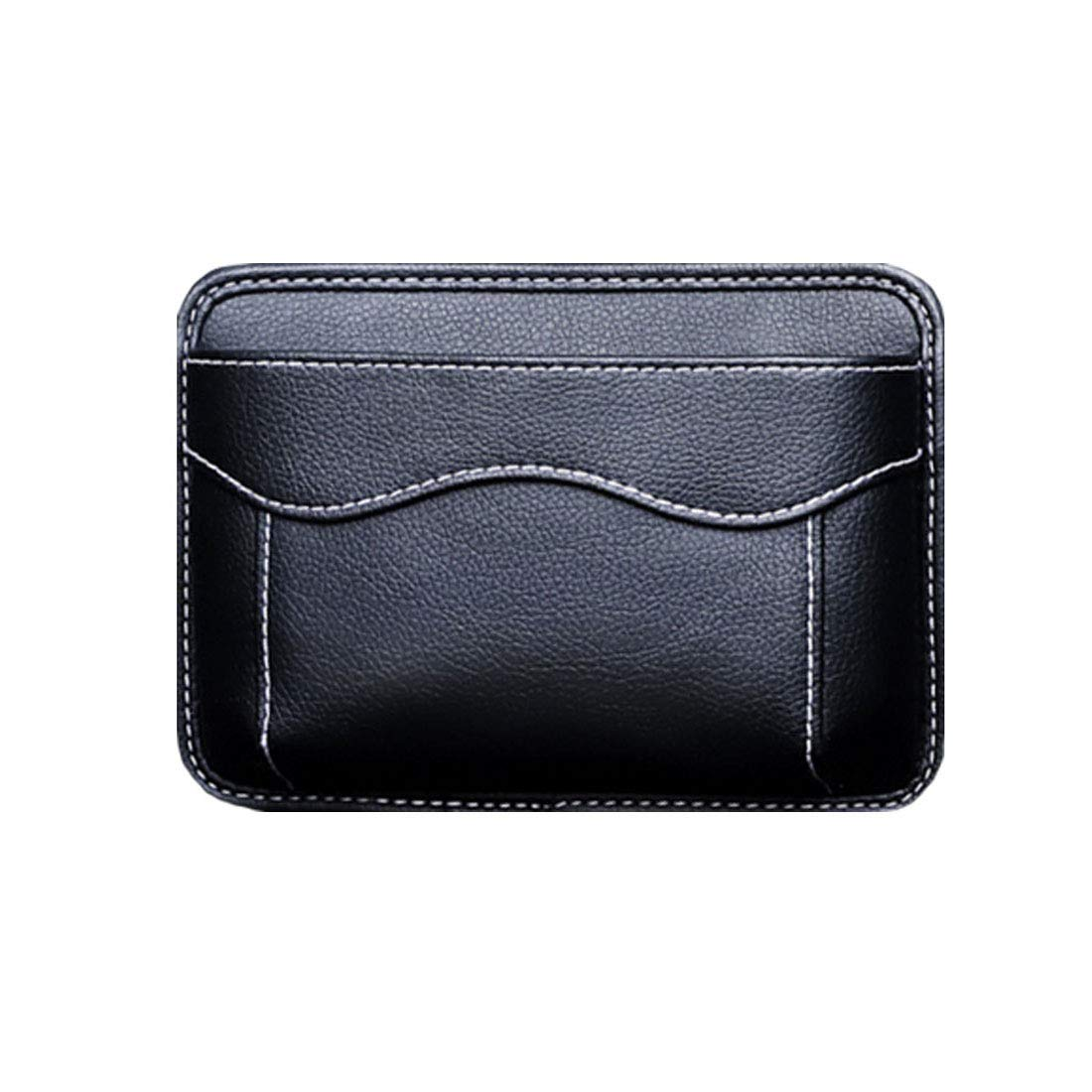 Car Side Pocket Organizer, Auto Seat Pockets PU Leather Pen Phone Holder Tray Pouch Used for Car Door, Window, Console, Seat -Fits to Organize Document, Registration, Notepad, Gadgets, Pen(All Black)) by AMOUTOR