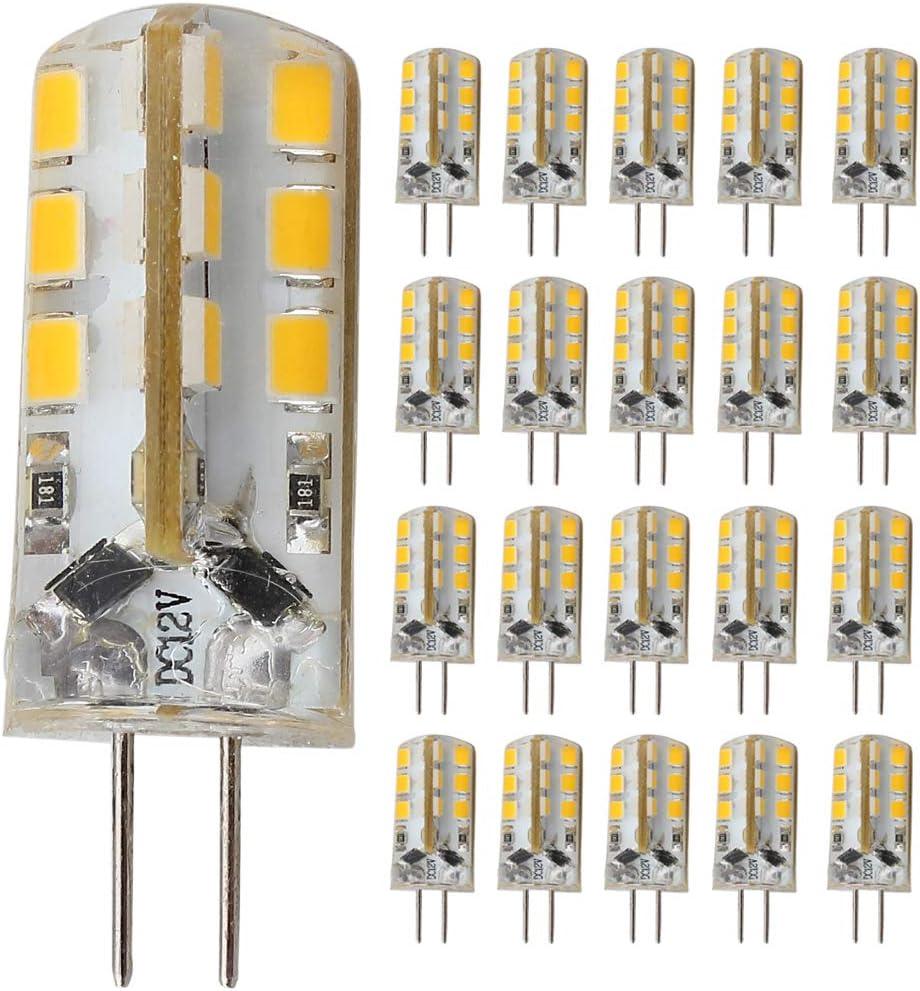 Bombillas LED G4, 24 unidades, 2 polos, 12 V CC, G4, 3 W, 20 ...