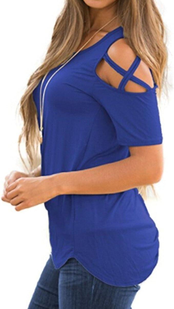 Tops Camisetas de Mujer, Verano Camisas De Hombro Frío Blusas Tops Mujer Sexy Camisetas de Manga Corta para Mujer Sólida Camiseta: Amazon.es: Ropa y accesorios