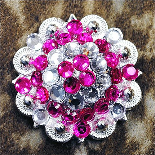 CN39 SET OF 2 HOT PINK CLEAR CRYSTAL 1-1/4in BERRY CONCHO RHINESTONE (Pink Rhinestone Concho)