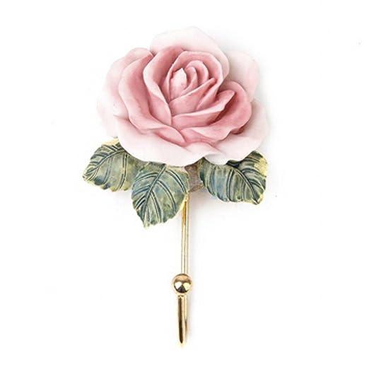 chengyida 3pcs Rosa Flor/corazón/con forma de vestido perchero de pared colgador de pared/puerta Vintage gorro toalla de baño ropa de resina): Amazon.es: ...