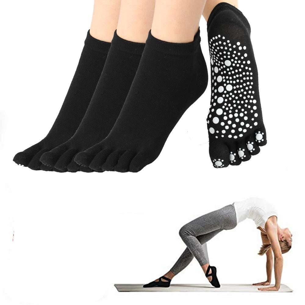 Yoga Socks Pilates Barre Ballet Non Slip Non Skid, Black (3 Pair)