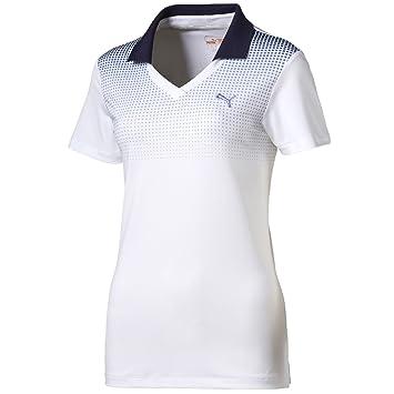Puma W Glitch Fade Polo – White/Medieval Blue Omphalodes White WEISS/BLAU  Size