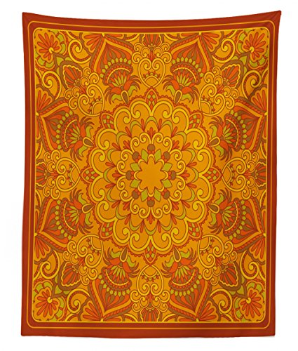 - Lunarable Ethnic Tapestry Twin Size, Middle Eastern Old Fashioned Carpet Pattern Inspired Retro Oriental Image, Wall Hanging Bedspread Bed Cover Wall Decor, 68 W X 88 L inches, Marigold Orange Green