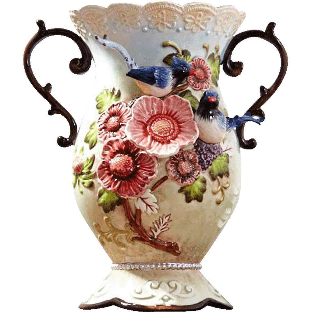 シックな花瓶 花瓶AXZHYZ190603018レトロセラミックホームデコレーションリビングルームの装飾フラワーアレンジメント大ドライフラワージュエリー29.5センチ×18センチ×15センチ 写真シックな花瓶シリンダー花瓶、装飾用花瓶 B07SNFJ6ZW