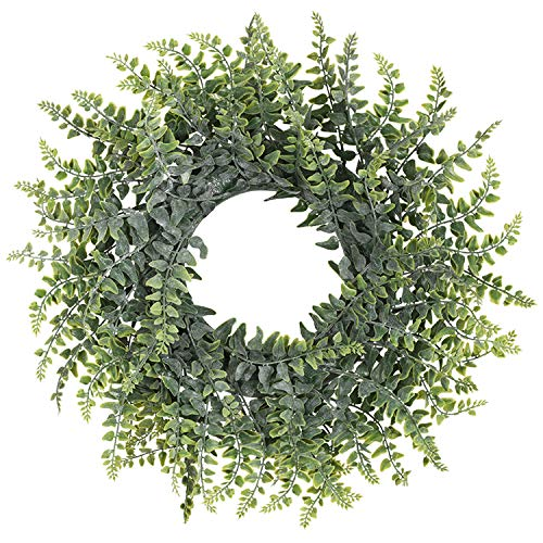 TINGOR Artificial Green Leaf Wreath, 14'' Boxwood Round Wreath for Front Door Wall Window Party Décor