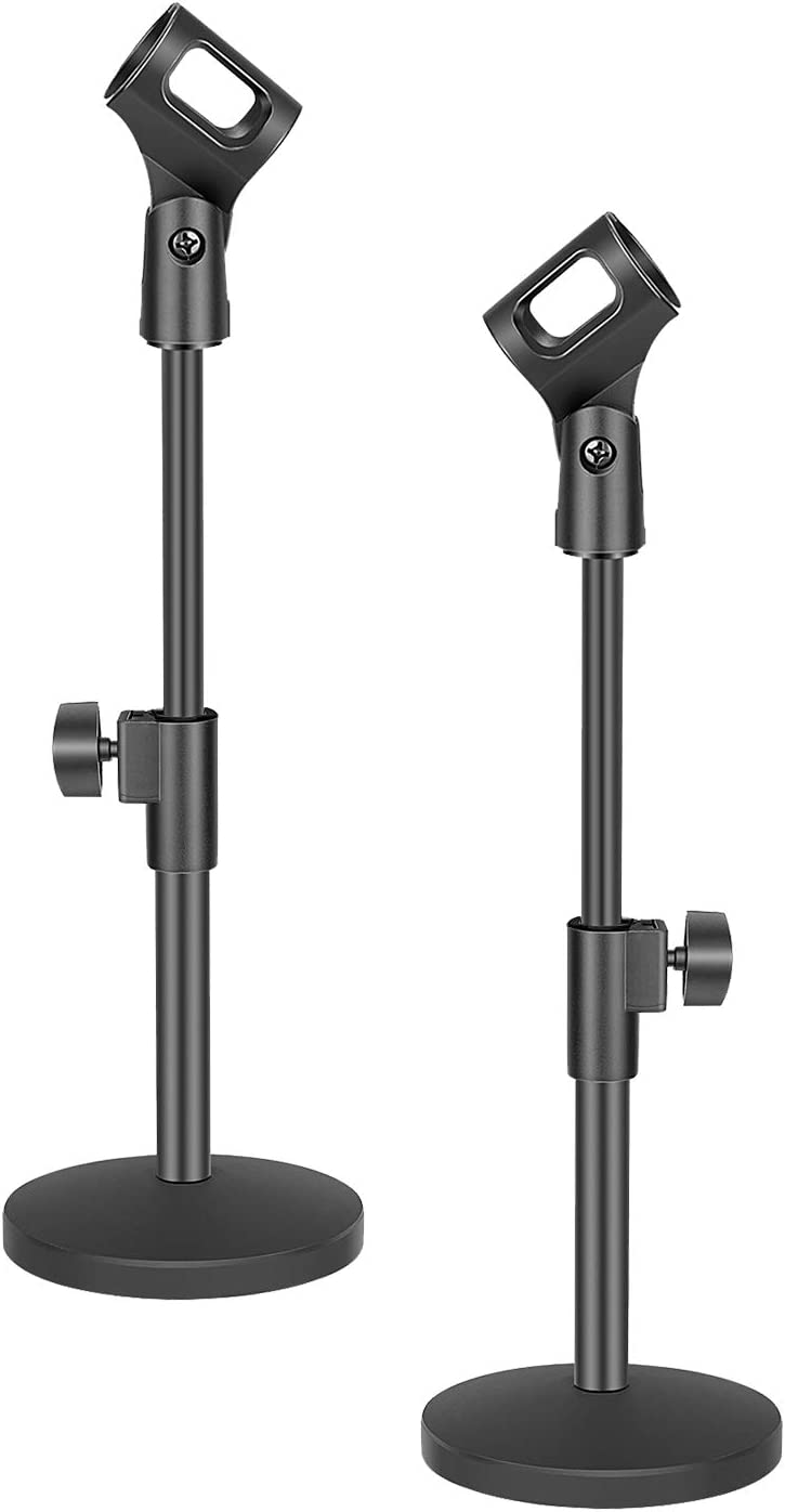 Neewer 2 Pack Stable Desktop Mic Stand with Black Iron Base, Mic Clip and 5/8