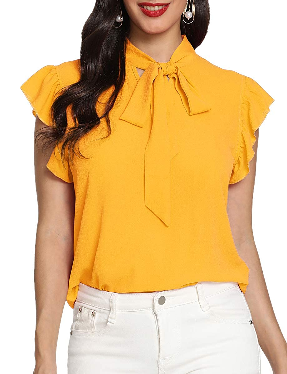 Yellow 2 Romwe Women's Casual Cap Sleeve Bow Tie Blouse Top Shirts