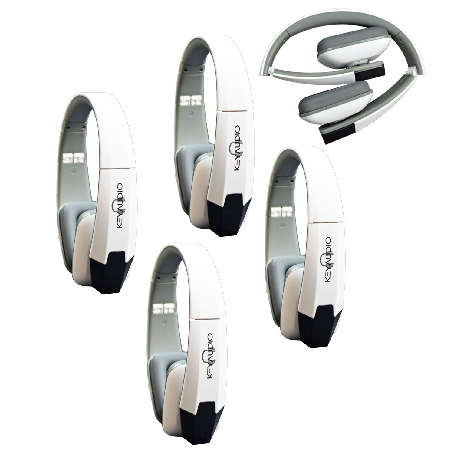 Key Audio 4 White Two Channel Folding Adjustable Universal Rear Entertainment System Infrared Headphone Car TV Video Audio and Listening With Superior Sound Quality