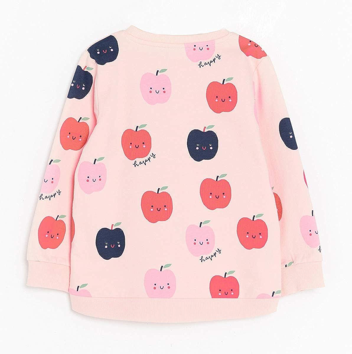 Youlebao Little Girl Cotton Long Sleeved Cute Cartoon Pullover Sweatshirt