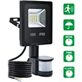Security Lights With Motion Sensor LED Floodlights SOLMORE 10W LED Flood Lights Sensor Outdoor Light Waterproof IP65 6000K 900lumen Halogen Lights Sensor Time&Distance&Brightness Adjustable Night Light For Car Park Driveway Forecourt Garden Outside Wall Warehouse Pathway Garage