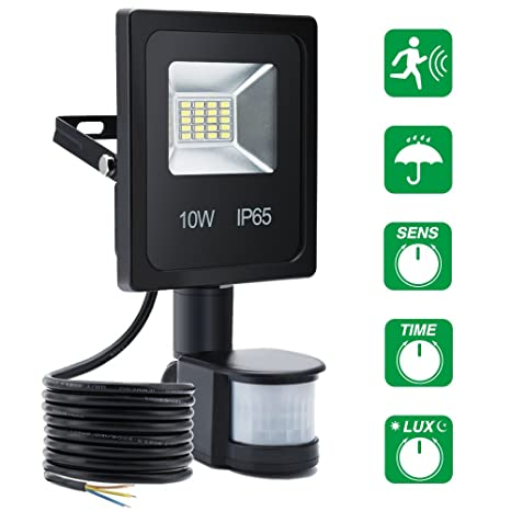 Sensor de movimiento de luz, SOLMORE 10W LED Luces de inundación externas Luz de seguridad