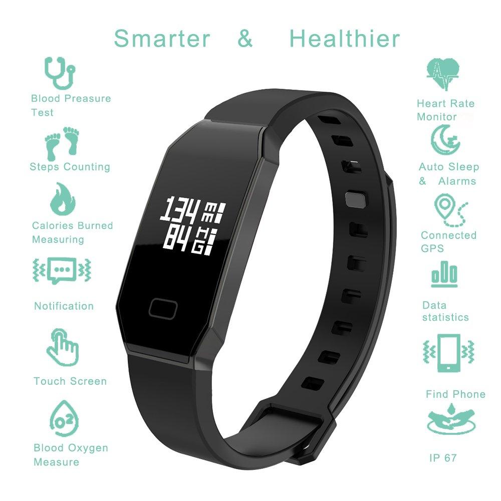 Bracelet Connecté Sport Cardiofréquencemètre Smart Band Bluetooth 4.0 Etanche Tracker dactivité Podomètre avec Contrôle de pression artérielle , Alarme, ...