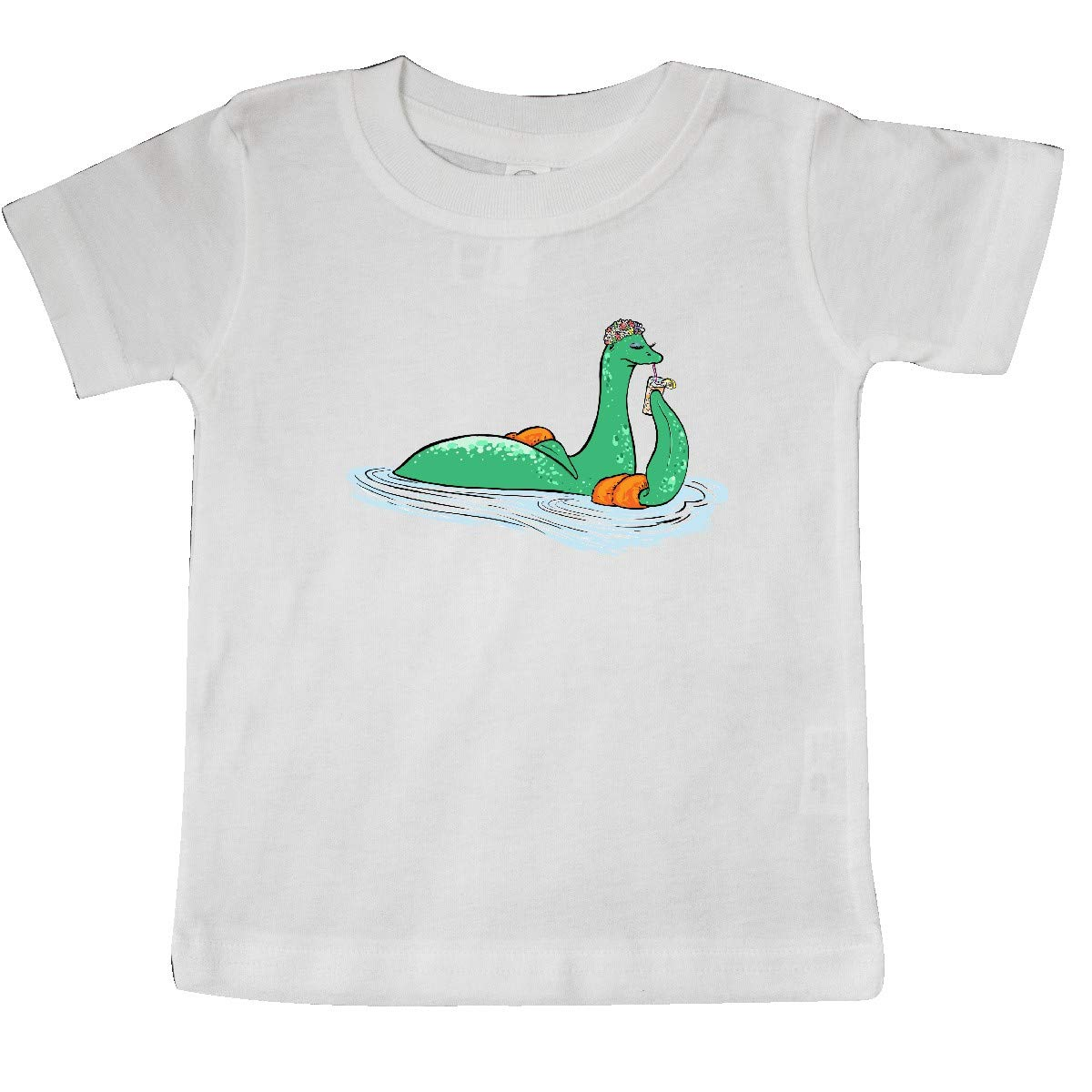 inktastic Loch Nessie Sipping Ice Tea and Swimming Baby T-Shirt