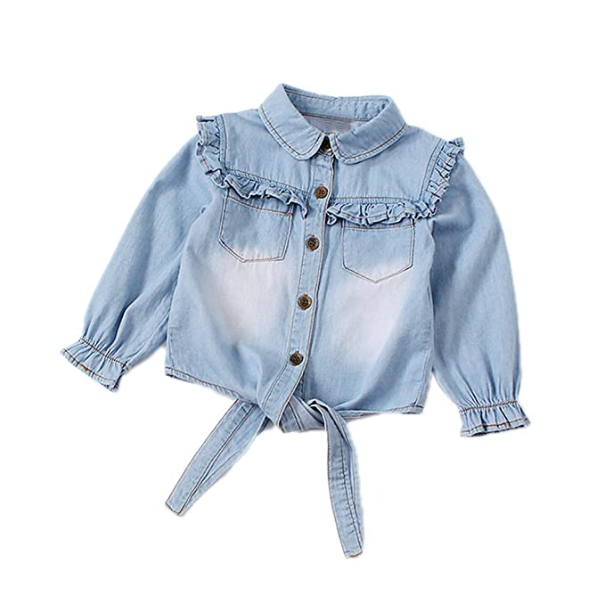 1d49aace9e9f Amazon.com  Toddler Girls Crop Tie Tops Denim Shawl Jeans Shirt ...
