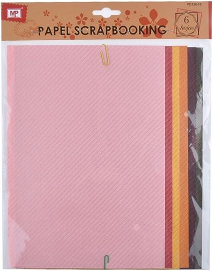 MP PD126-15 - Pack de 6 hojas papel con textura scrapbooking, 20 x 38: Amazon.es: Oficina y papelería