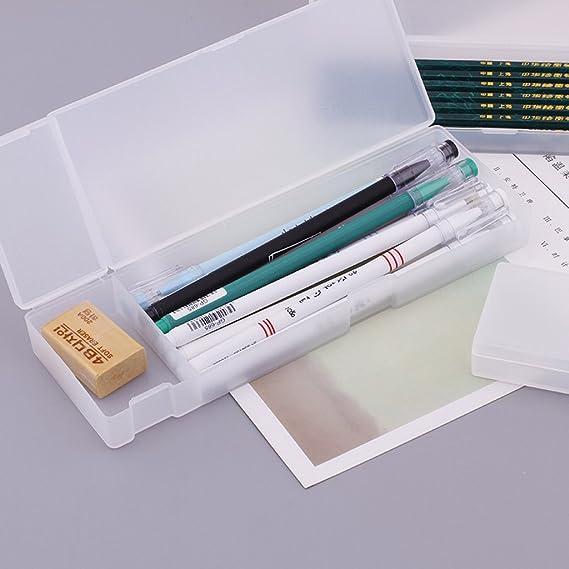 Longsw - Estuche de plástico transparente para lápices, caja de almacenamiento, suministros escolares de oficina, color W2