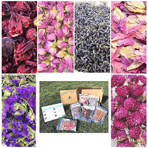 6 Packs Artisan Dried Flower Kit for Soap Making, Resin, Bath Bomb - Rose Bud, Lavender, Hibiscus, and More no Preservatives no Additives. 2 Bonus e-Guides How to Make All Natural Dye