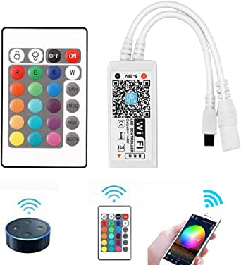 VIPMOON WiFi Wireless LED Smart Controller,Compatible with Alexa&Google Assistant&IFTTT,Working with Android,iOS System and RGB LED Strip Lights,Comes with 24 Keys Remote Control