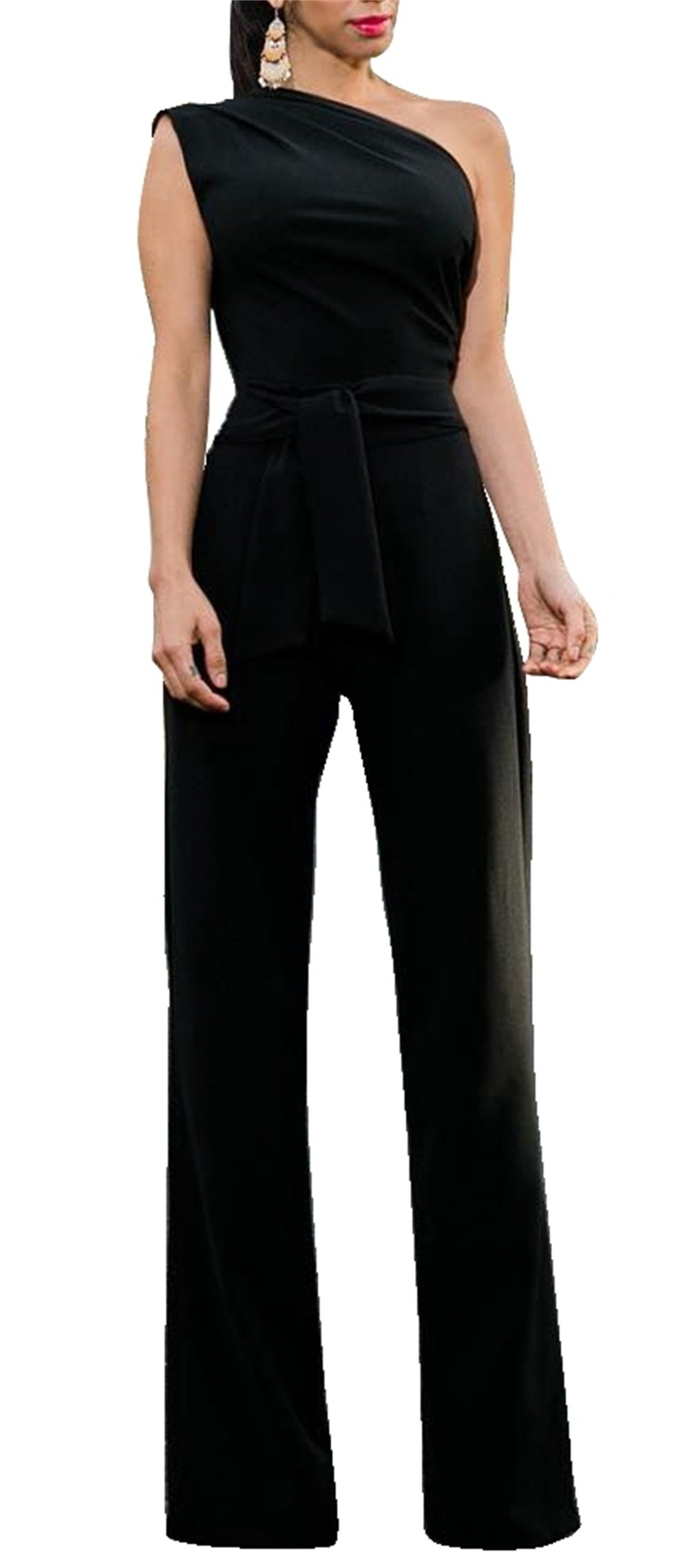 Molisry Women Casual Off One Shoulder Wide Leg High Waisted Long Pants Jumpsuits with Belt