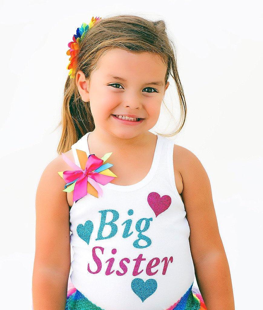 Bubblegum Divas Little Girls Big Sister Rainbow Tank Top Shirt Love Hearts