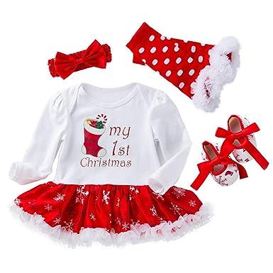 7c7efe058 Baby Girls' Newborn 1st Christmas Onesie Costume Outfits Tutu Dress 4PCs Baby  Girls Christmas Party