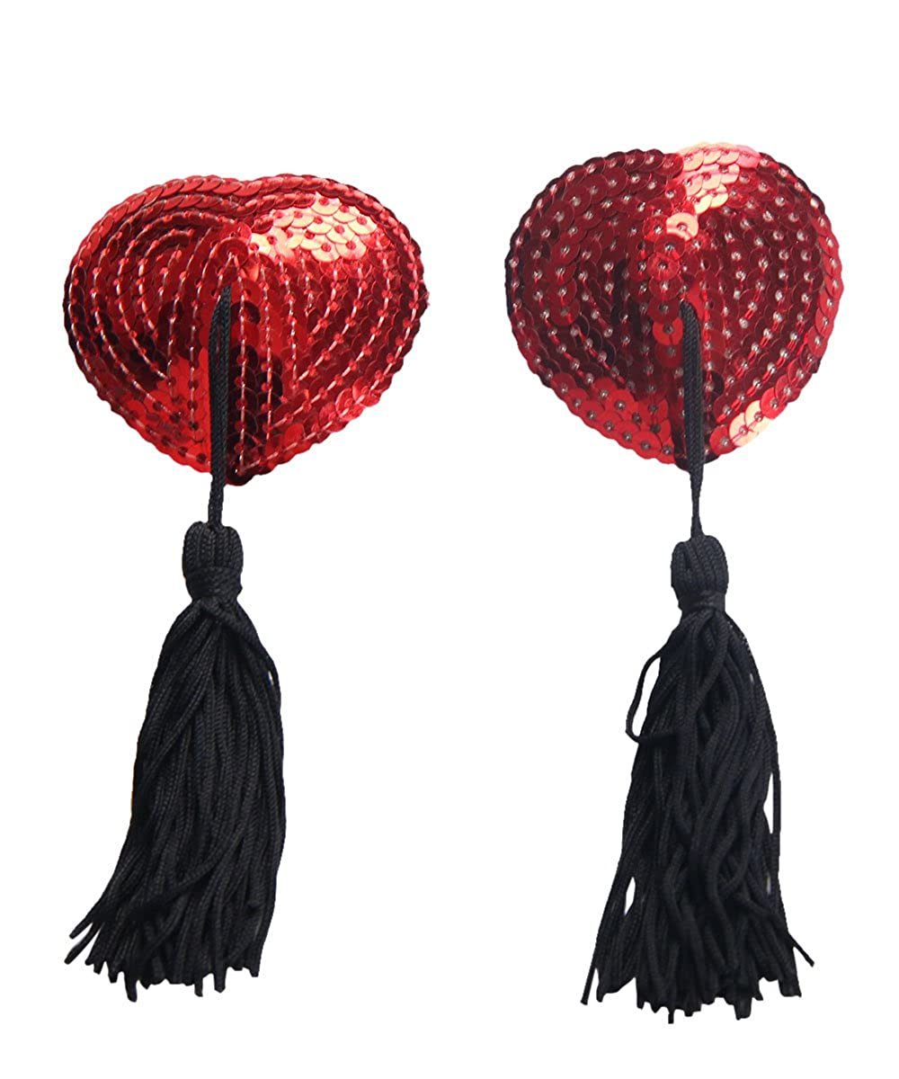 2e48d1333a3db Ladies Women red Nipple cover Sexy sequin tassels burlesque pasties bra  reusable  Amazon.co.uk  Clothing