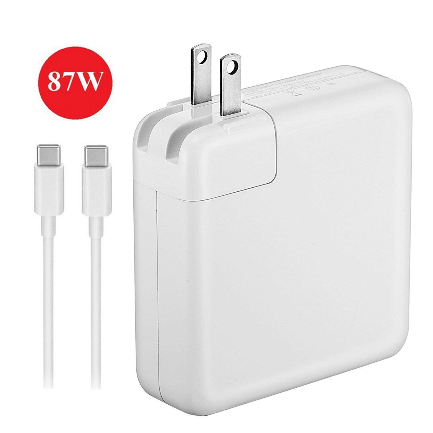 Hypercon Heavy Duty Certified 87W USB Type C Power Supply Adapter Charger and 3.1 USB-C Charge Cable for Pro 15 Inch Thunderbolt 3 2016 2017 2018 MNF82LL/A A1708 A1719 - White