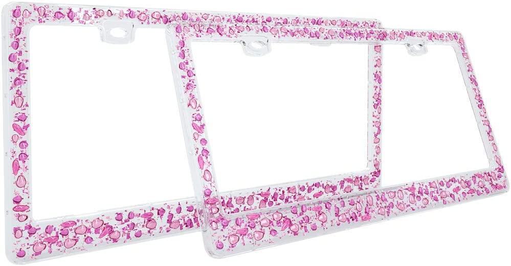 Front Rear Holder AWINNER 3D Shining License Plate Frame Transparent Frame with Pink Stone 2 Holes Shiny Bling License Plate Cover for US Vehicles