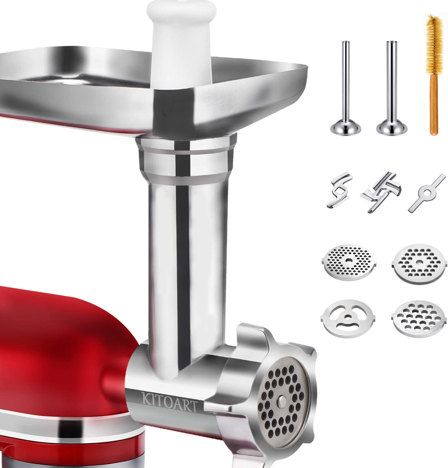 Metal Food Grinder Attachments for KitchenAid Stand Mixers, Durable Meat Grinder, Sausage Stuffer Attachment Compatible with All KitchenAid Stand Mixers