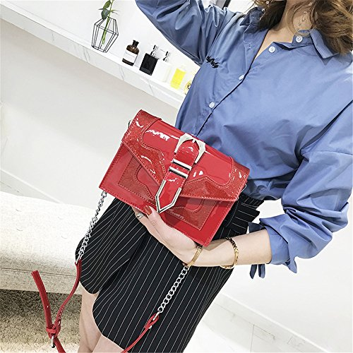 Shoulder Bag Shoulder Simple Red Bag Strap Magnetic Hit Color Messenger Retro PU Sunbobo PU Chain YpPAap