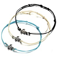 LALANG 3PCS Woman Bohemia Turtle Pendant Multi-Layer Adjustable Hand Made Bracelet Anklet