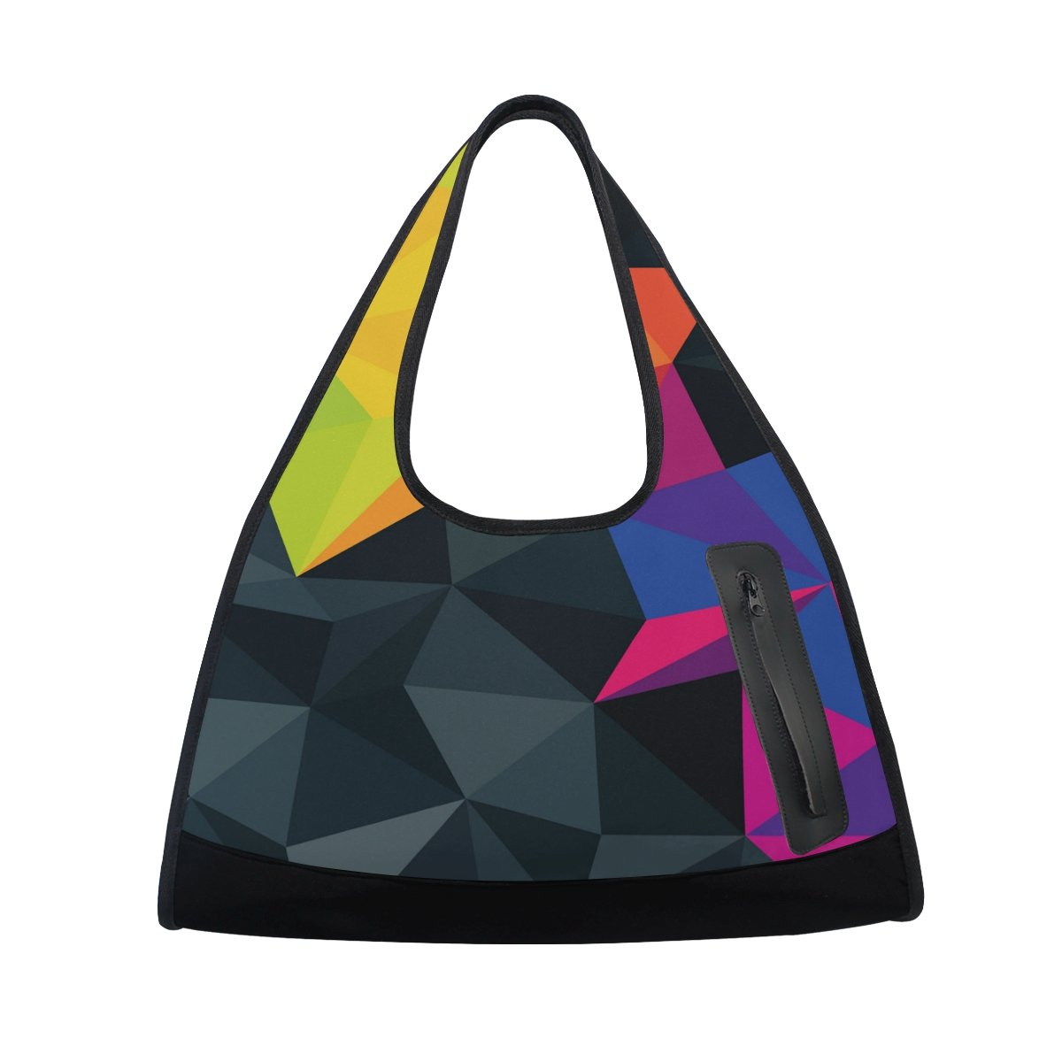 Gym Bag Sports Holdall 3D Geometric Figure Triangle Canvas Shoulder Bag Overnight Travel Bag for Men and Women