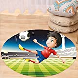 VROSELV Custom carpetKids Young Boy Playing Football in the Stadium Athlete Sports Soccer Championship Graphic for Bedroom Living Room Dorm Multicolor Round 79 inches