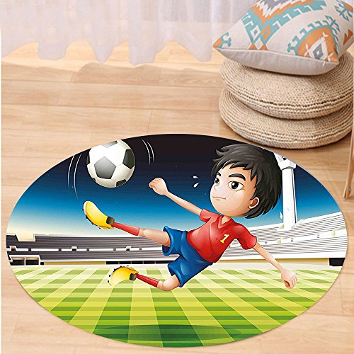 Kisscase Custom carpetKids Young Boy Playing Football in the Stadium Athlete Sports Soccer Championship Graphic for Bedroom Living Room Dorm Multicolor by kisscase