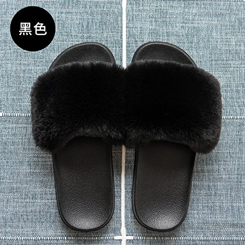 Espesor Zapatillas Sólido Parejas Cool 45 de fankou 44 Stay Negro Suave Antideslizante Home Zapatillas Bonito Femenina con Color Verano PRwfUq0