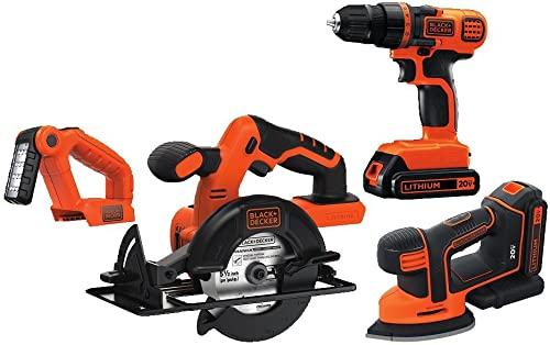 BLACK DECKER 20V MAX Cordless Drill Combo Kit, 4 Tool BD4KITCDCMSL