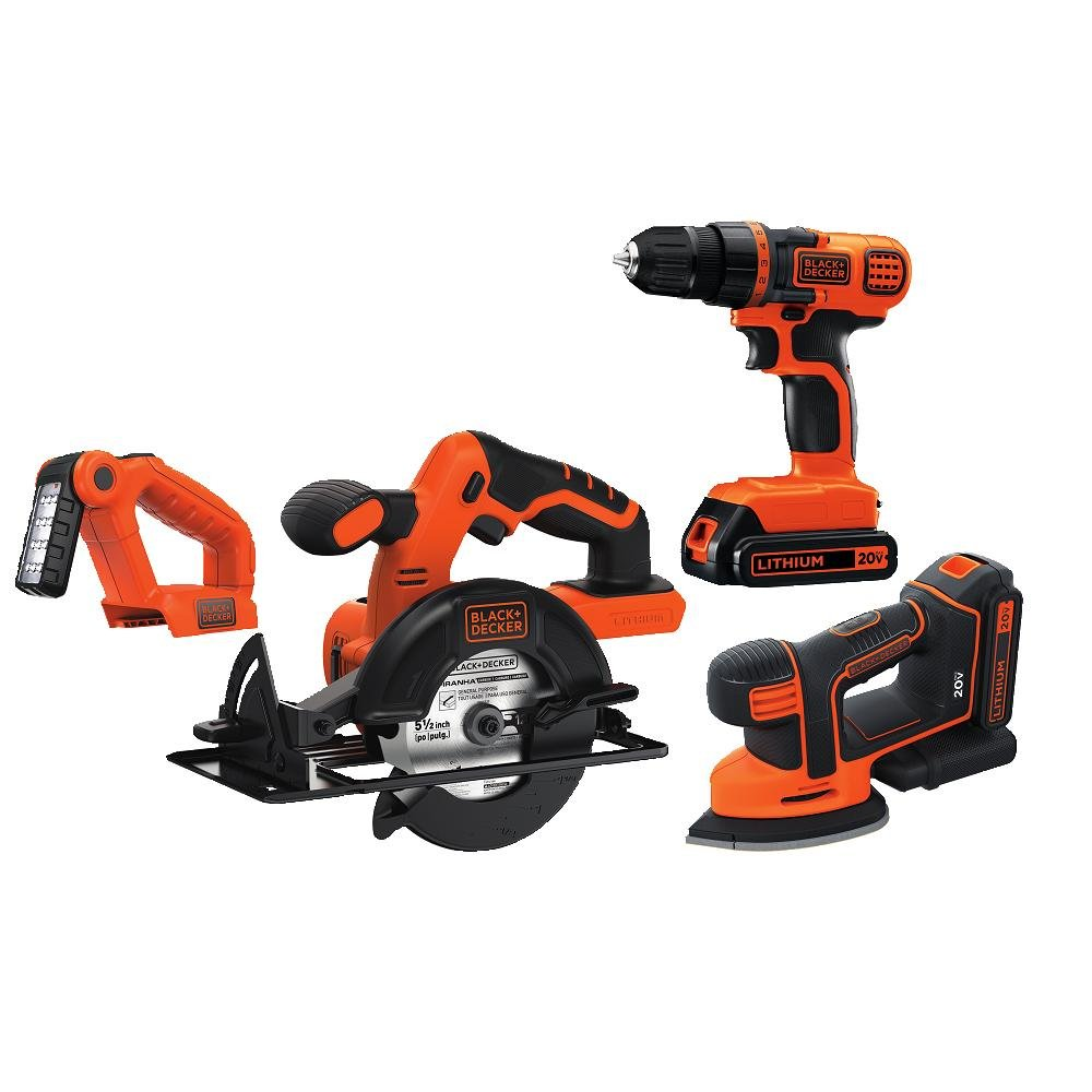 $179.99(WAS $240.13) BLACK+DECKER BD4KITCDCMSL 20V MAX Lithiuim Ion 4 Tool Combo Kit